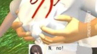 ホット3Dアニメの可愛い人は外に頭を与えます