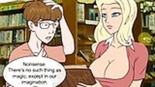 変態セックスゲームオタクは魔法の呪文を持つセクシーなブロンドをファック